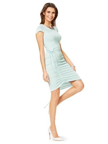 Сукня трикотажна з короткими рукавами і драпіровкою