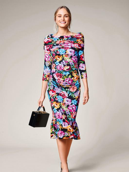 Сукня трикотажна з пишною оборкою