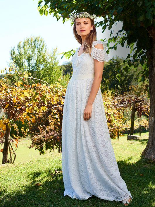 Сукня мереживна з воланами для нареченої