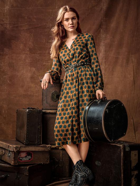 Сукня з V-подібним вирізом і пишними рукавами