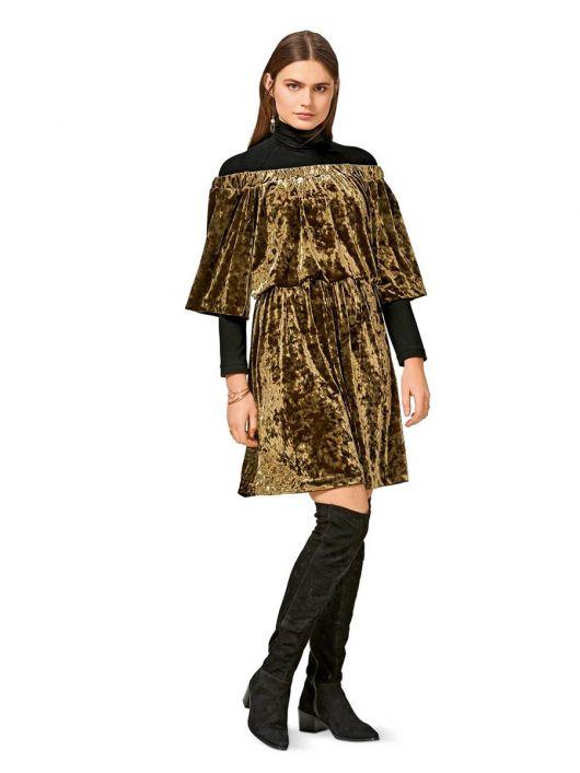 Сукня з вирізом кармен і широкими рукавами