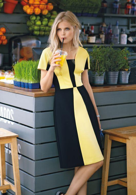 Сукня у стилі колор-блокінг
