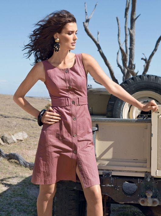 Сукня приталеного крою із наскрізною застібкою