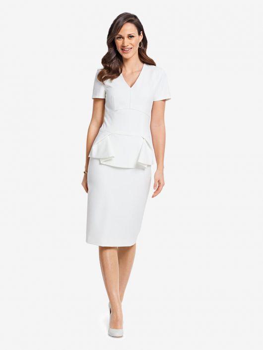 Сукня-футляр із фігурною баскою