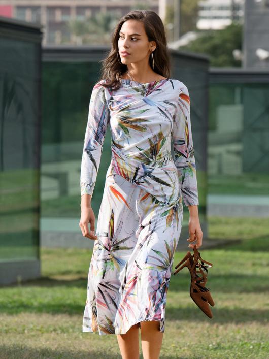 Платье трикотажное с драпировками