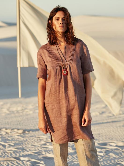 Сукня міні з пластроном зі складками
