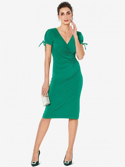 Сукня з рукавами-ліхтариками і драпіровками у боковому шві