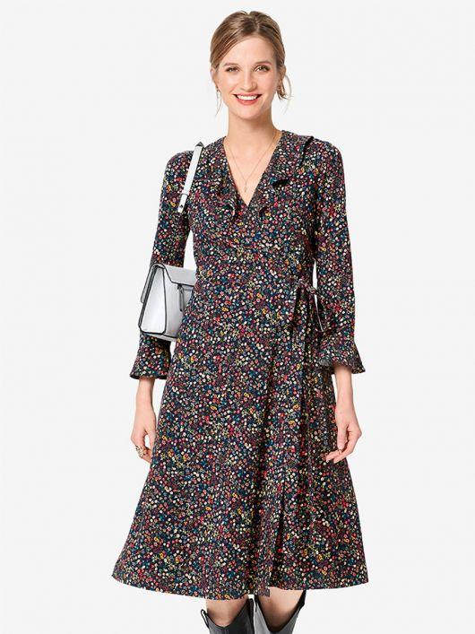 Сукня трикотажна з запахом і воланами