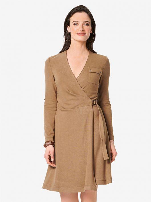 Сукня трикотажна з запахом і нагрудною кишенею