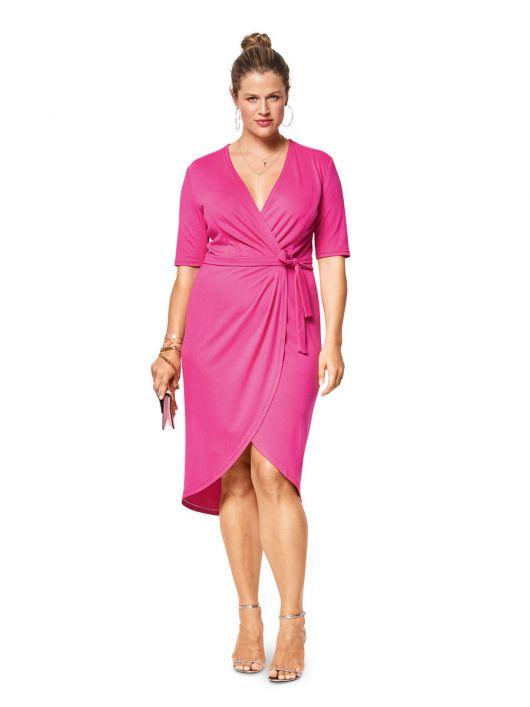 Сукня трикотажна з запахом і асиметричним низом