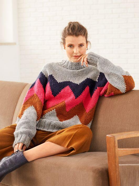 Пуловер в'язаний із зигзагоподібним узором