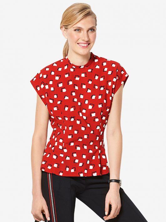Блузка приталеного крою з коміром-стойкою
