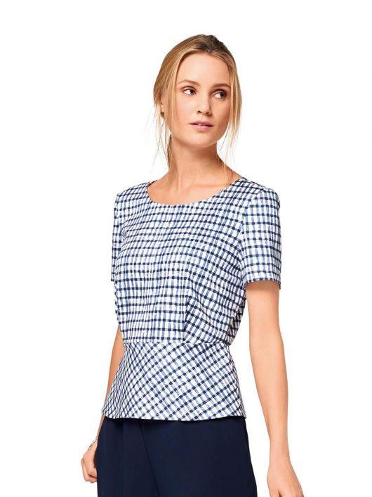 Блузка з баскою і короткими рукавами