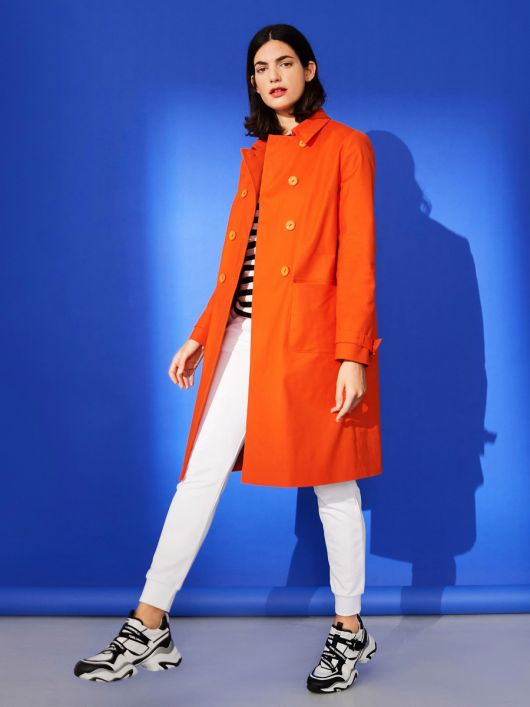Пальто двобортне в стилі тренчкота