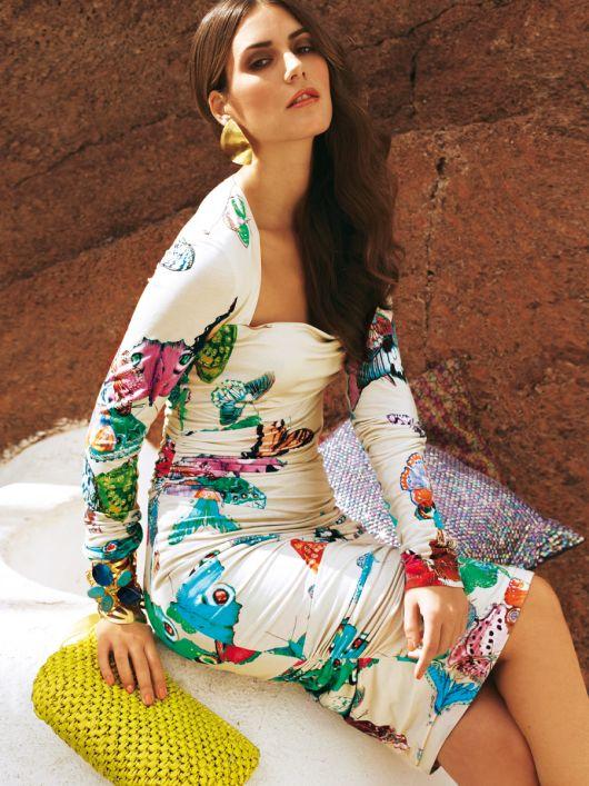 Сукня трикотажна з широким вирізом і драпіровками
