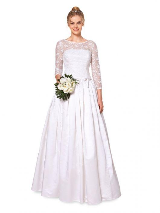 Сукня-бюстьє весільна з мереживним верхом