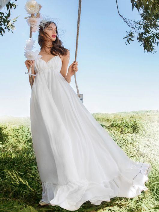 Сукня максі силуету ампір на бретелях-спагеті