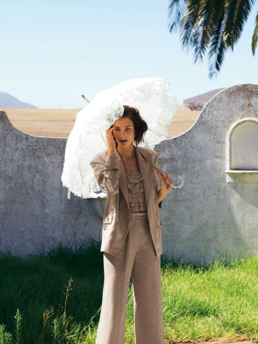 Жакет двобортний з лляного полотна
