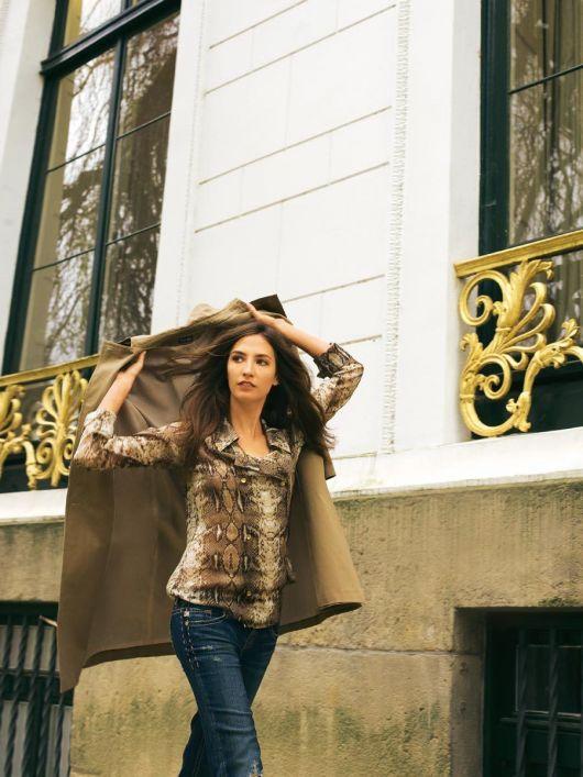 Блуза-тренч двобортна з шифону