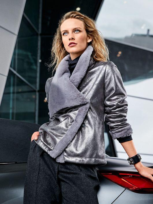 Куртка шкіряна з асиметричною застібкою