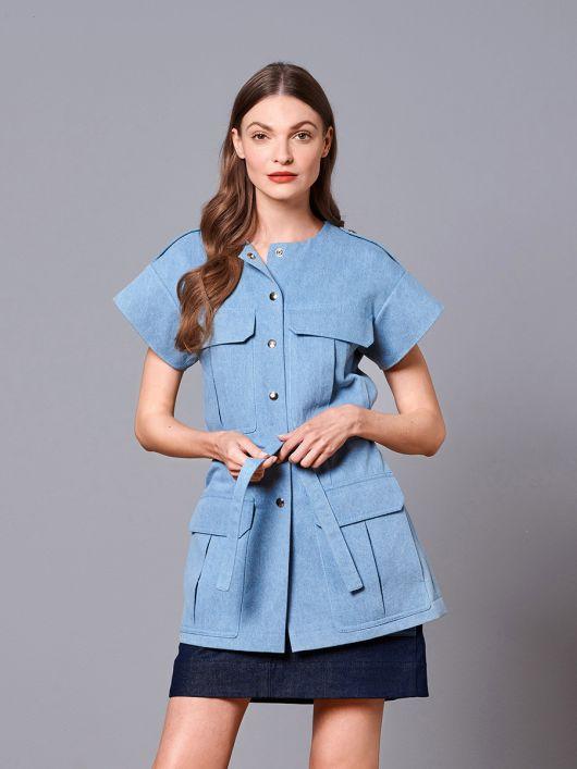 Жилет джинсовий в стилі сафарі з кишенями-портфелями