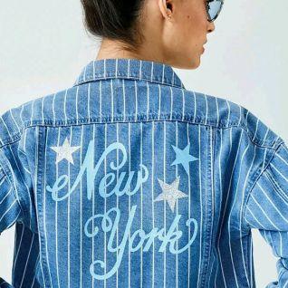 Як декорувати аплікацією-написом джинсову куртку