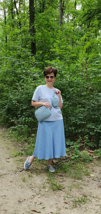 Спідниця з широкою кокеткою. Total blue look.