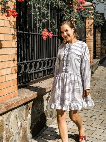 Смугаста сукня over size з декором