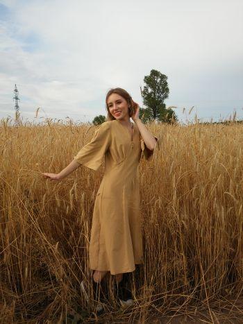 Сукня в пшеничних тонах