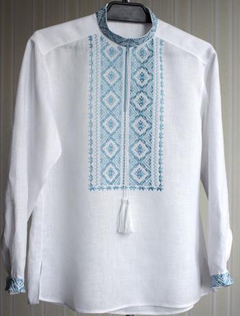 Чоловіча сорочка з вишивкою полтавською гладдю