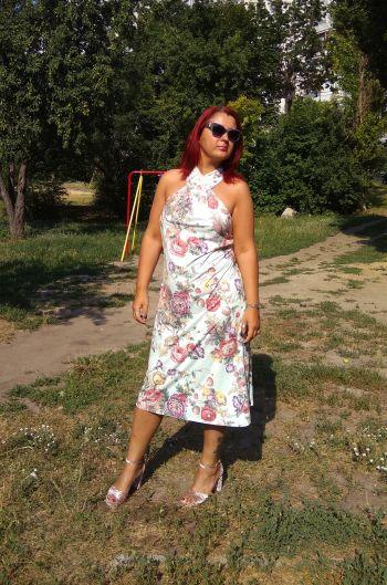 Сукня ментол та квіти