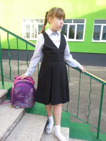 Шкільний сарафан на бретелях