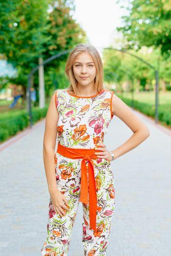 Комбінезон в оранжеву квіточку