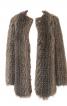 Хутряне пальто без коміра з довгим ворсом - фото 4