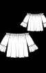 Блузка з вирізом кармен і воланами на рукавах - фото 3