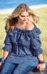 Блуза силуету ампір і з вирізом кармен - фото 1
