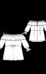 Блуза з широким вирізом і оборкою - фото 3