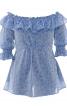 Блуза з широким вирізом і оборкою - фото 2