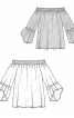 Блуза з вирізом кармен та воланами на рукавах - фото 3
