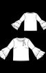 Блузка прямого крою з двошаровими воланами на рукавах - фото 3