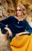 Блуза оксамитова прямого крою з вирізом-крапелькою - фото 1