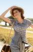 Блуза з кокеткою і короткими рукавами - фото 1