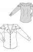 Блузка-сорочка приталеного силуету з воланами - фото 3