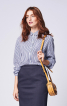 Блузка сорочкового крою з коміром на стойці - фото 1