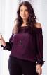 Блуза кармен з бантами на рукавах - фото 1