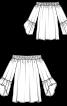 Туніка з вирізом кармен і оборками на рукавах - фото 3