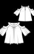 Блуза простора з вирізами на плечах - фото 3