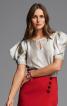 Блузка прямого крою з об'ємними рукавами - фото 1
