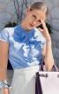 Блузка приталена з оборками і коміром-стійкою - фото 1