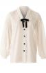 Блузка прямого крою зі складками на рукавах - фото 2